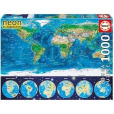 Educa  1000  - World map, - Neon puzzle