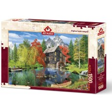 Art Puzzle  1500  - Fishing by the water mill, Dominic Davison