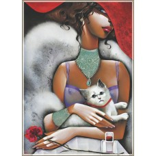 Gold Puzzle  1000  - Lady with a cat